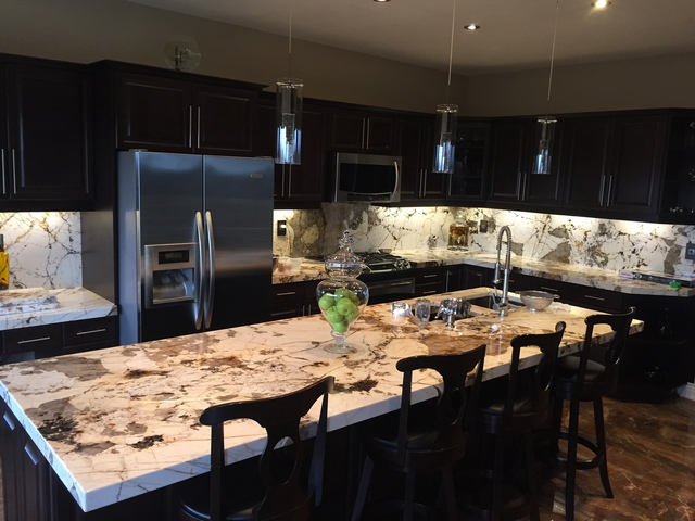 Blanc Du Blanc Granite Kitchen Island And Backsplash