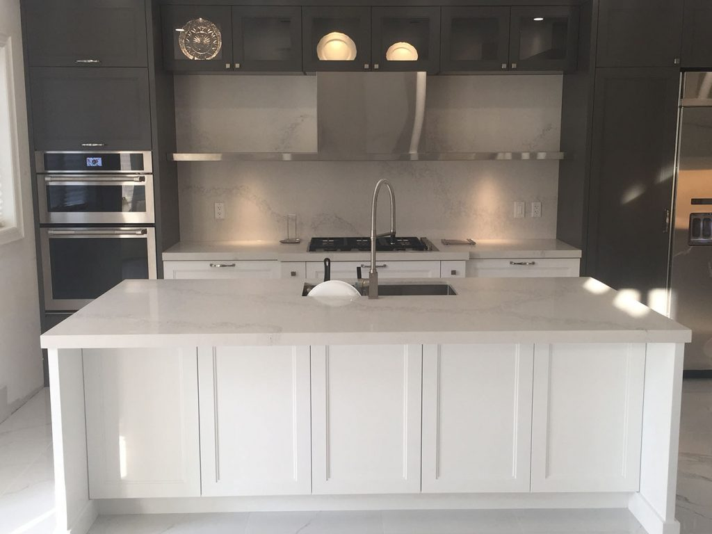 Calacatta Nuvo Caesarstone Kitchen Island And Backsplash