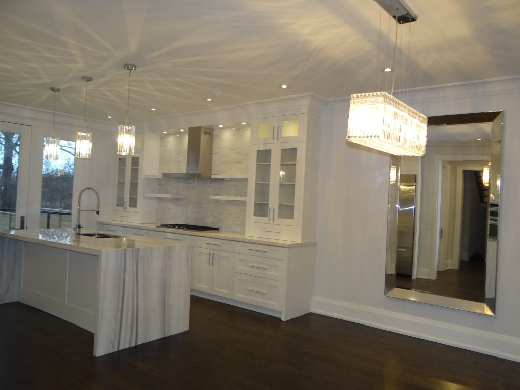 Equator Marble Island And Pure White Caesarstone Kitchen